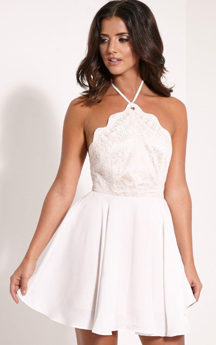 Luella Cream Lace Halterneck Skater Dress Image 1 9db3a2525