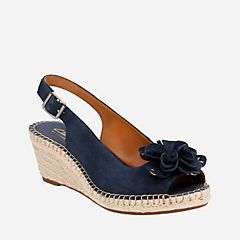 f4e6806cd56 Petrina Bianca Navy Suede - Womens Wedge Sandals - Clarks® Shoes Official  Site