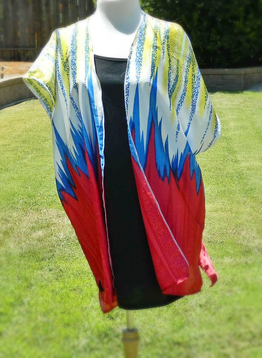 9d1a2f990 KIMONO Cardigan BEACH Cover Up Blue Red White Yellow Zigzag by Kaishaley on  Etsy