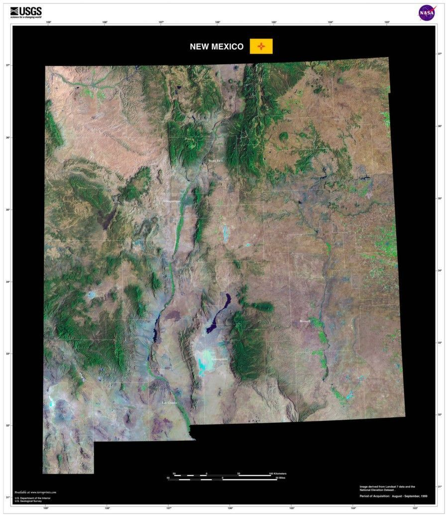 new mexico satellite imagery state map poster