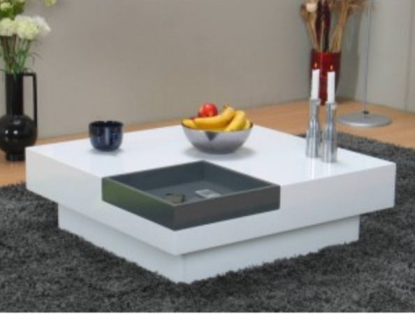 Witte Salontafel Dienblad.Stijlvolle Witte Design Salontafel Inclusief Uitneembaar Grijs