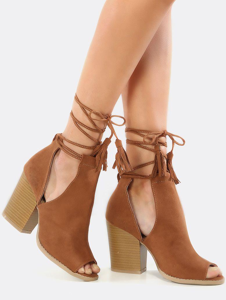#AdoreWe #SheIn Boots - SheIn Peep Toe Stacked Heel Booties RUST - AdoreWe.com