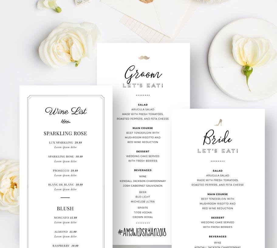 Editable Wedding Menu Templates, Drink Menu PSD Design, Modern Food ...