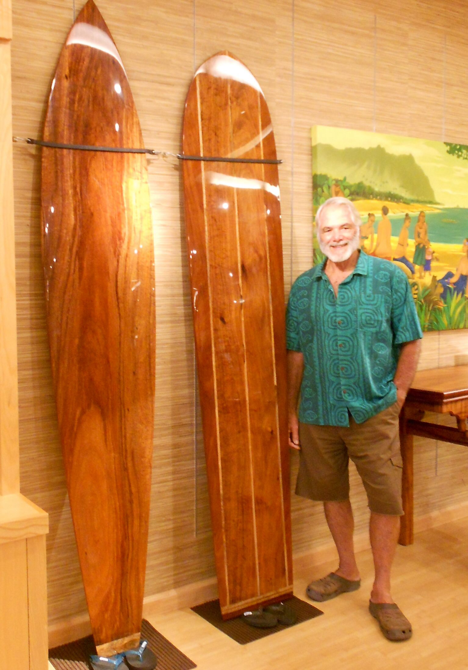 Koa Surfboards by master shaper Kenny Tilton.  Only at our Kings' Shops Waikoloa store 808-886-0696 www.martinandmacarthur.com