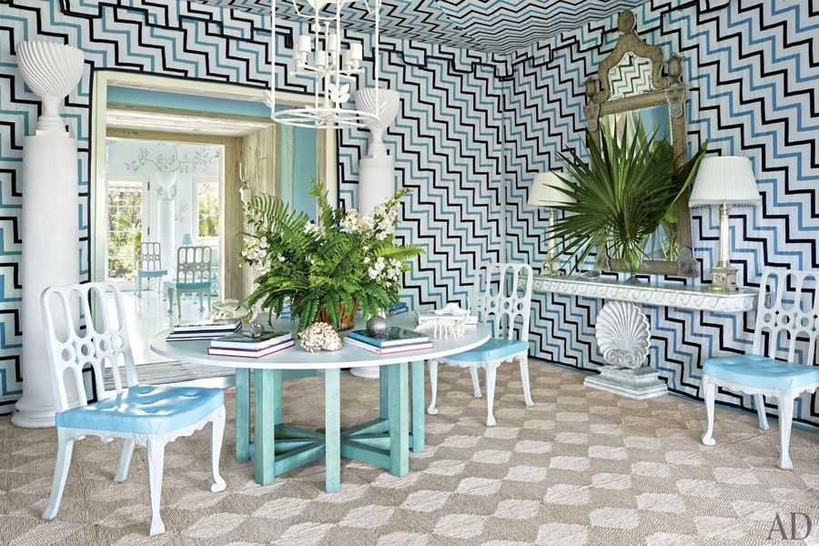 Amazing patterned walls and ceiling...