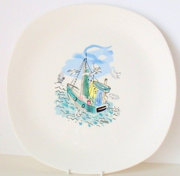 Fishing Boat plate, illustration by Charles Cobelle | 1950s