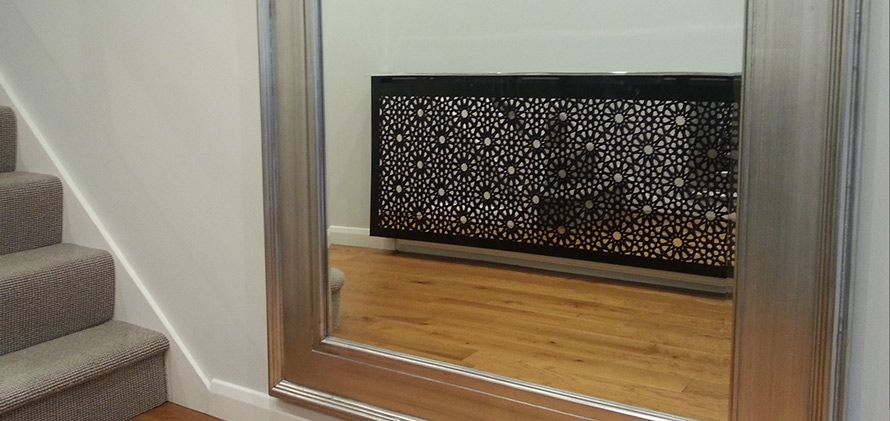 Solo Arabic Radiator Cover With Mirror In Modern Hallway Mirror Radiator Cover Mirror Radiator Radiator Cover
