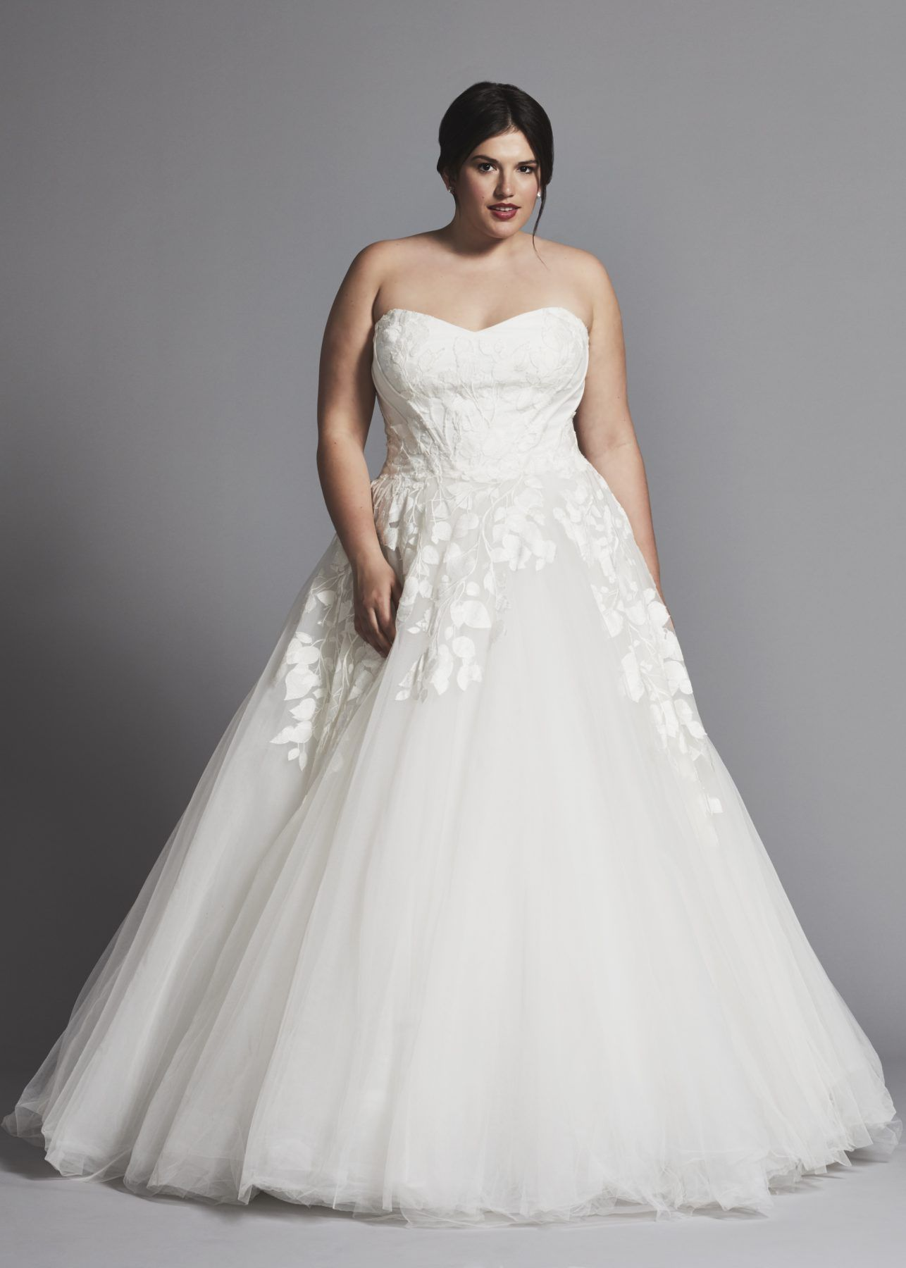Strapless Applique Ball Gown Wedding Dress With Tulle