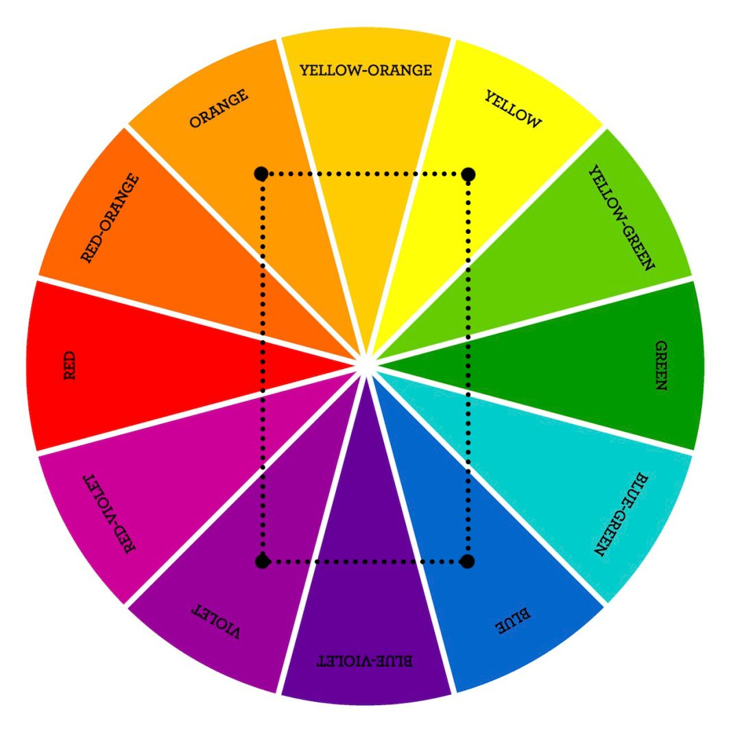 Color Theory Double Complementary Color Schemes Double