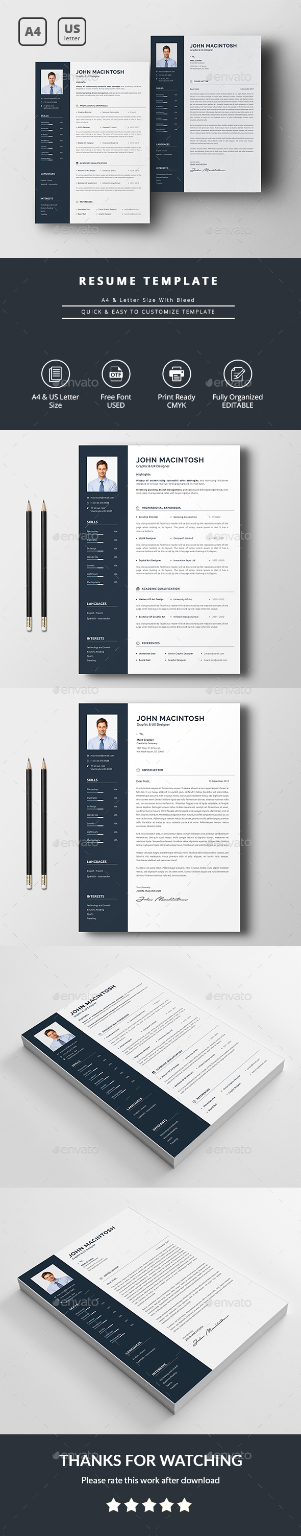 Illustrator Resume Templates Resume Template  Template Ai Illustrator And Professional Resume