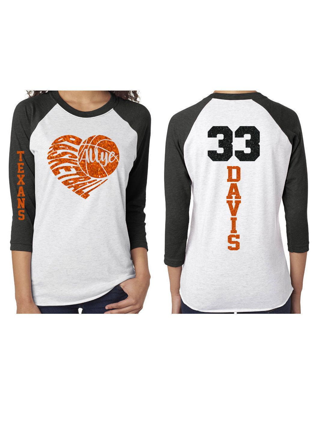 online store 4ff79 58c5f Glitter Basketball Shirt   Customized 3 4 Sleeve Raglan Basketball Mom Shirt  by GavinsAllyeDesigns on Etsy