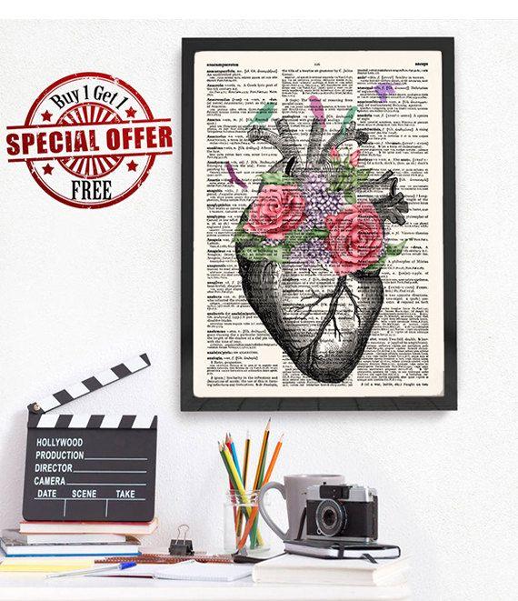 Heart Print, Heart Anatomy, Birds Flowers Poster, Dictionary Art ...