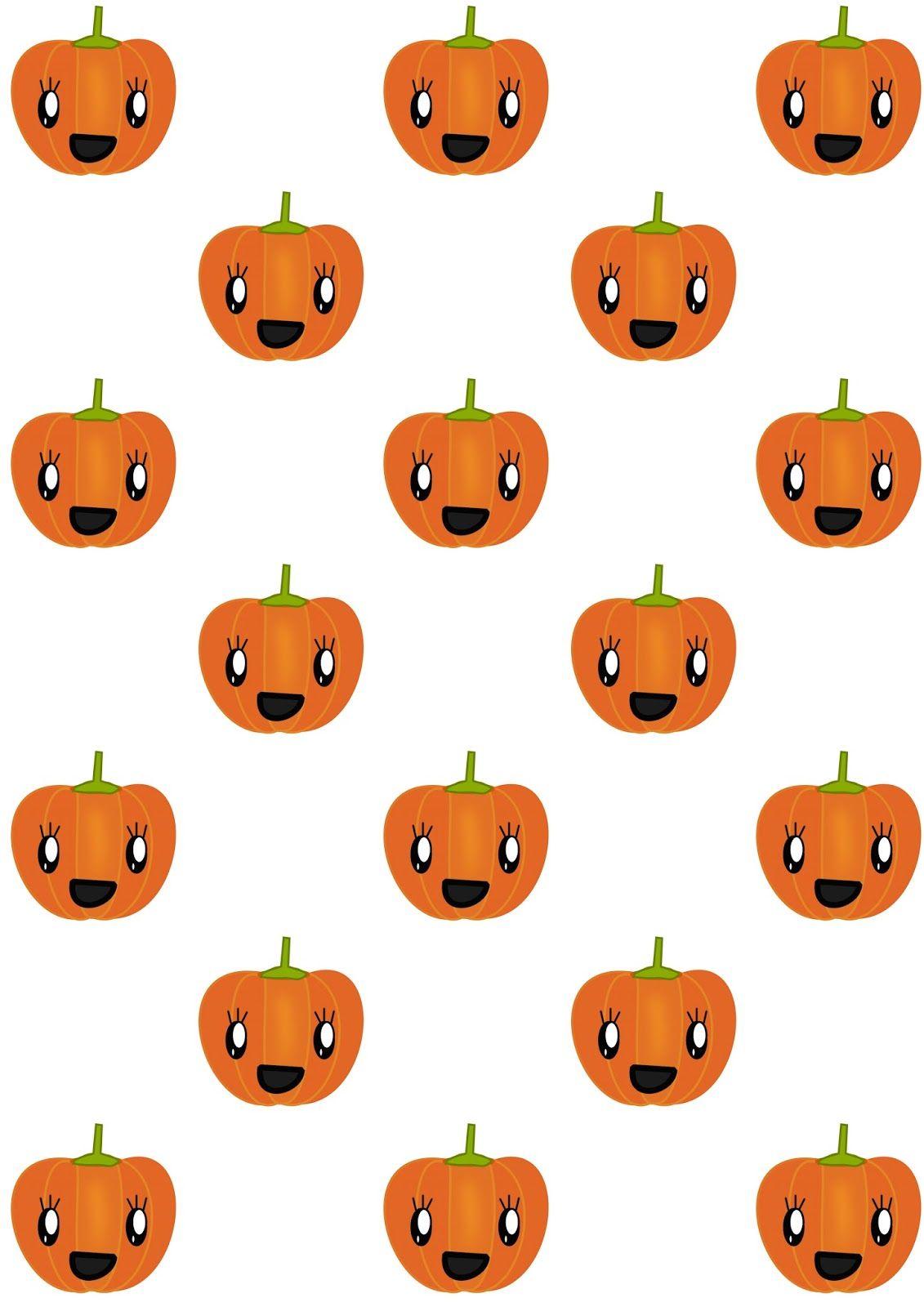 FREE printable pumpkin pattern paper   #kawaii #JackO'Lantern