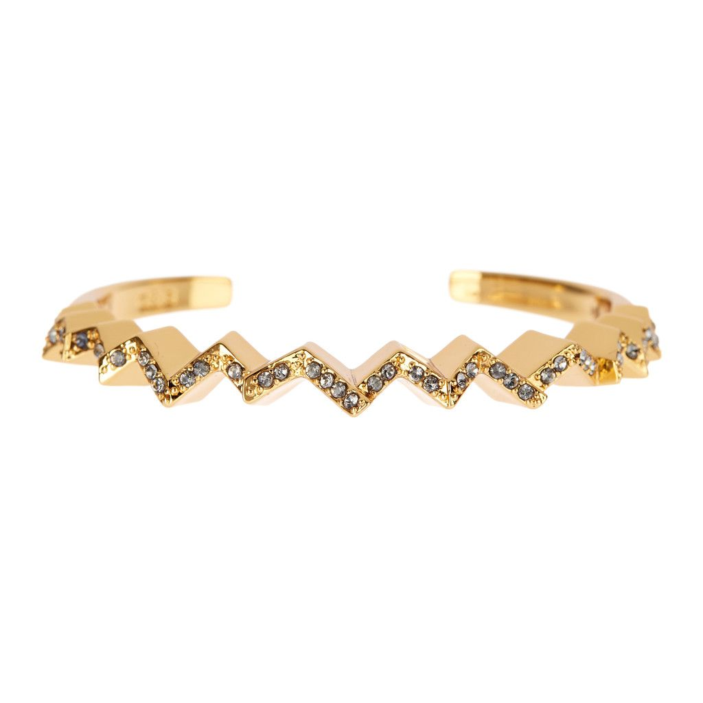 Giles & Brother - Ray Zig Zag Pavé Cuff Gold