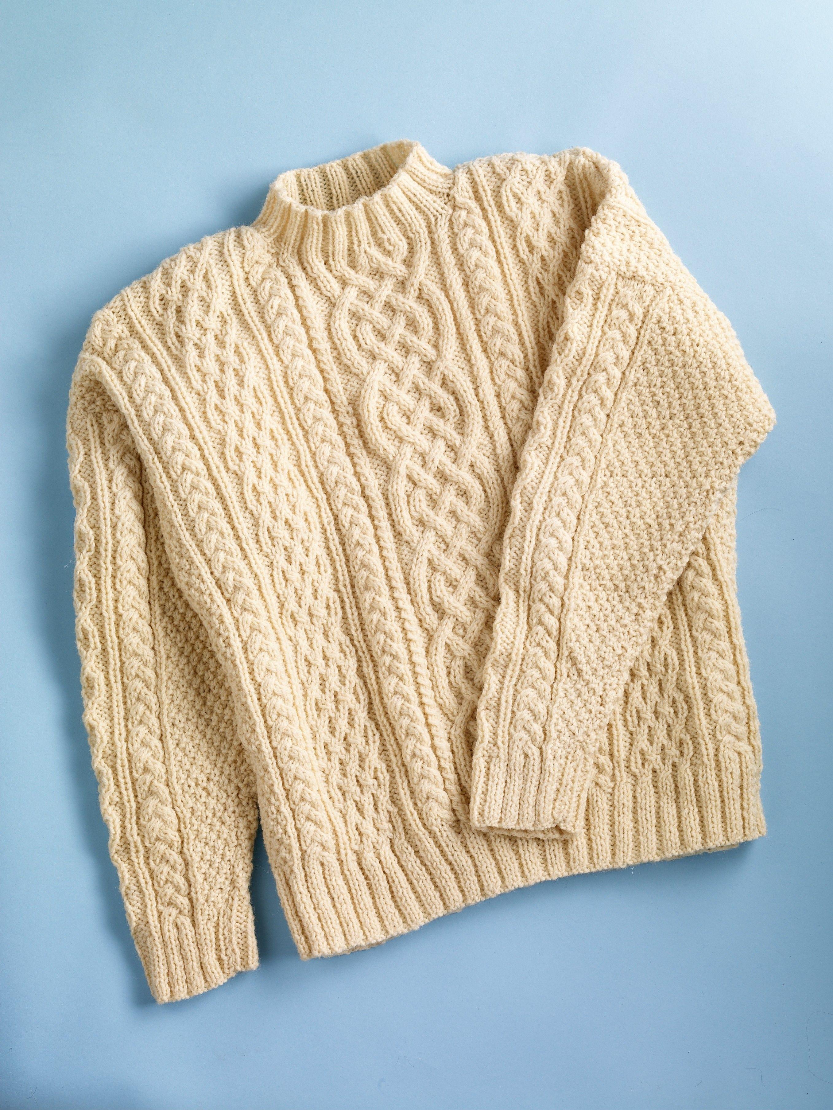Aran Sweater (Knit) - Patterns - Lion Brand Yarn | cables ...