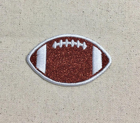 "Sparkly Football Applique Patch 4/"" Iron on"