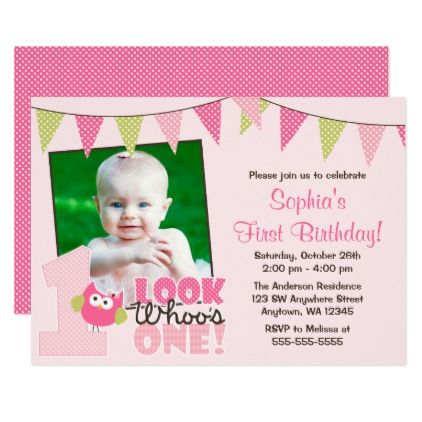 Pink Green Girl Owl 1st Photo Birthday Invitations