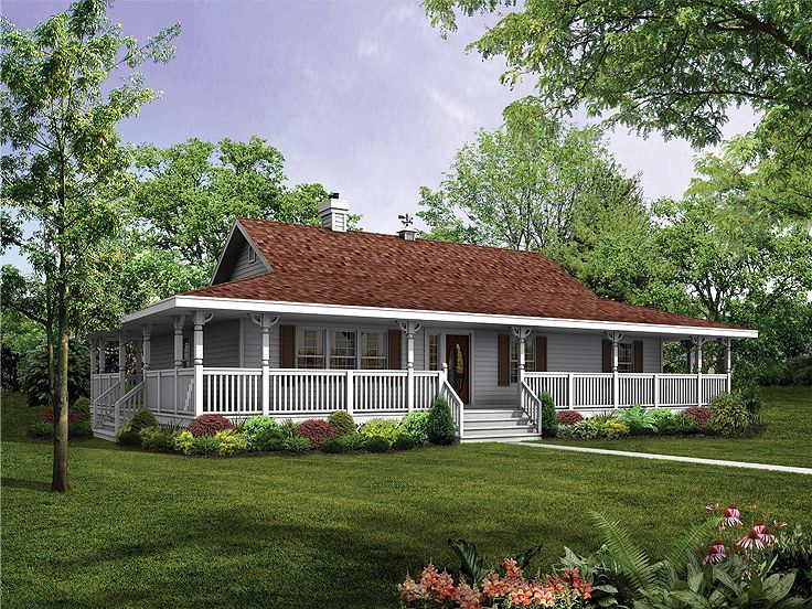 Ranch House with wrap around porch and basement   House Plans     Ranch House with wrap around porch and basement