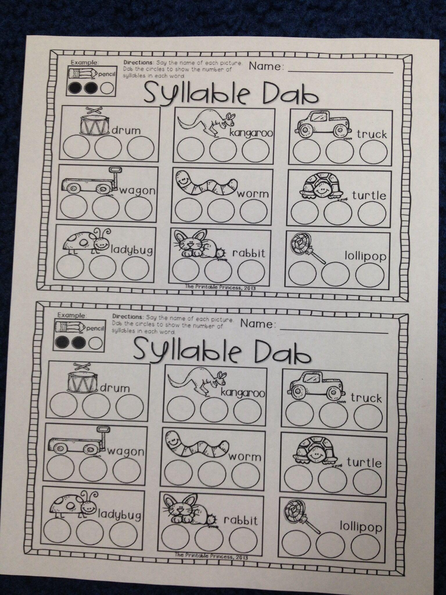 Fun Day Kindergarten - Syllable Dab Activity