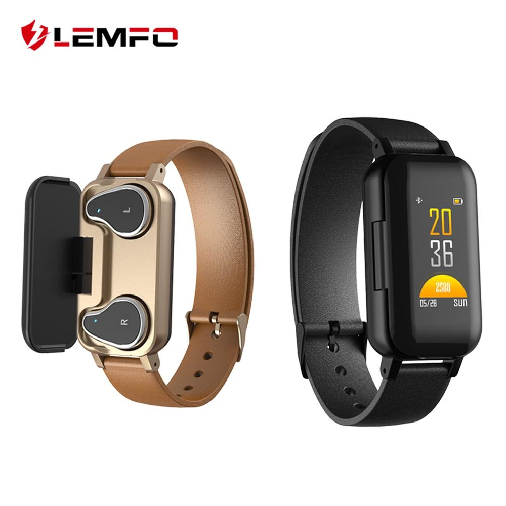 LEMFO T89 TWS Smart Binaural Bluetooth Headphone Fitness Bracelet Heart Rate Monitor Smart Wristband Sport Watch Men Women #sportswatches