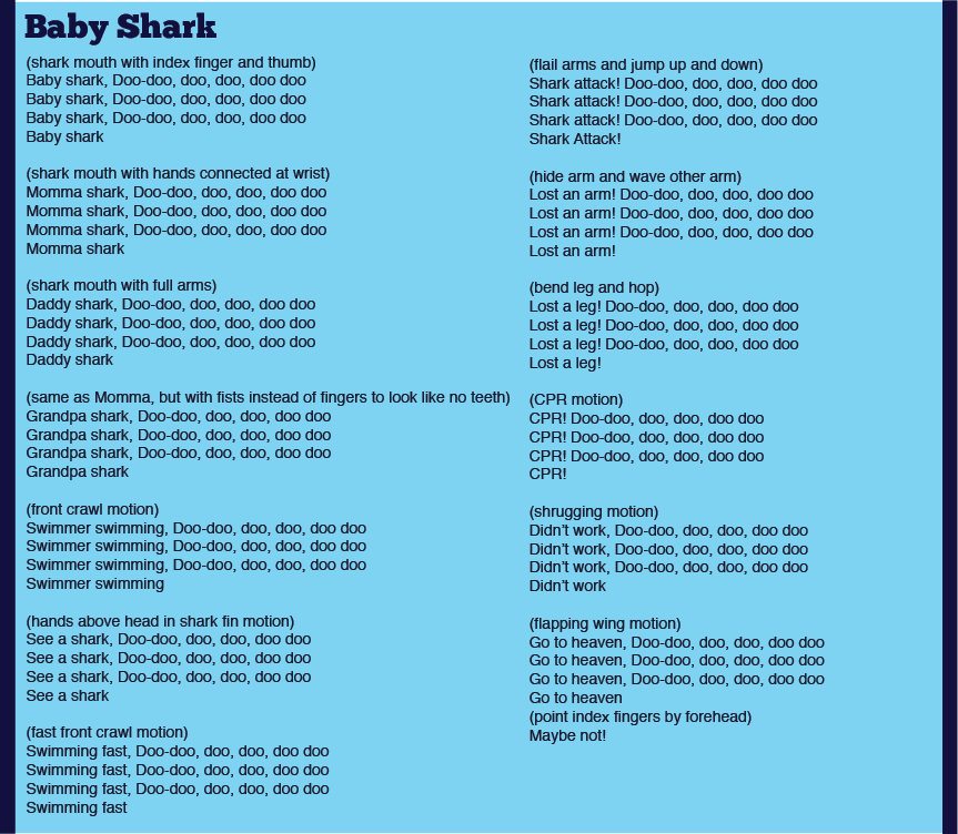 Lyric high low chicka low lyrics : Baby Shark summer camp songs | Our Favorite Songs! | Pinterest ...