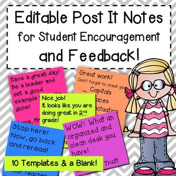 EDITABLE Post It Notes for Student Encouragement and Feedback - feedback templates