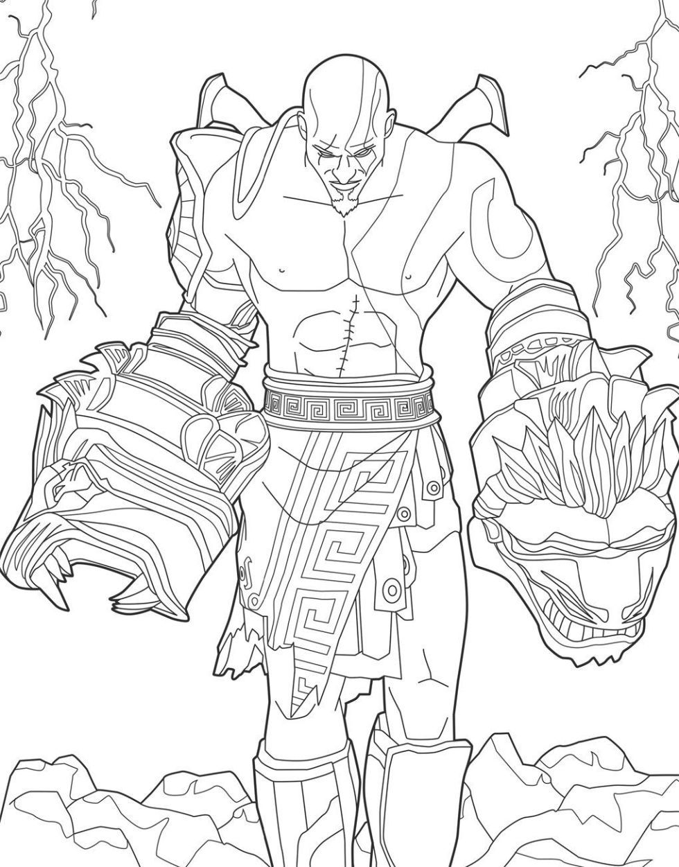 The Playstation Colouring Book Is Out Today Coloring Books Kratos God Of War Coloring Book Art [ 1251 x 980 Pixel ]