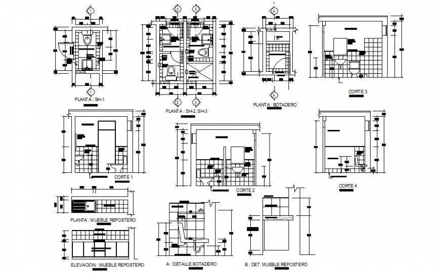 Bathroom Blocks Detail Plan And Section Drawing In Autocad Which