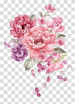 Flower Paper Watercolor Painting Illustration Pink Ink Flowers Pink And Purple Flowers Transparent Ba Pink Flower Painting Flower Illustration Flower Drawing