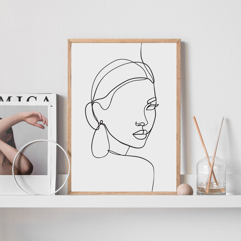 Single line woman face PRINTABLE wall art Line drawing face   Etsy   Face  artwork, Printable wall art, Artwork fine art