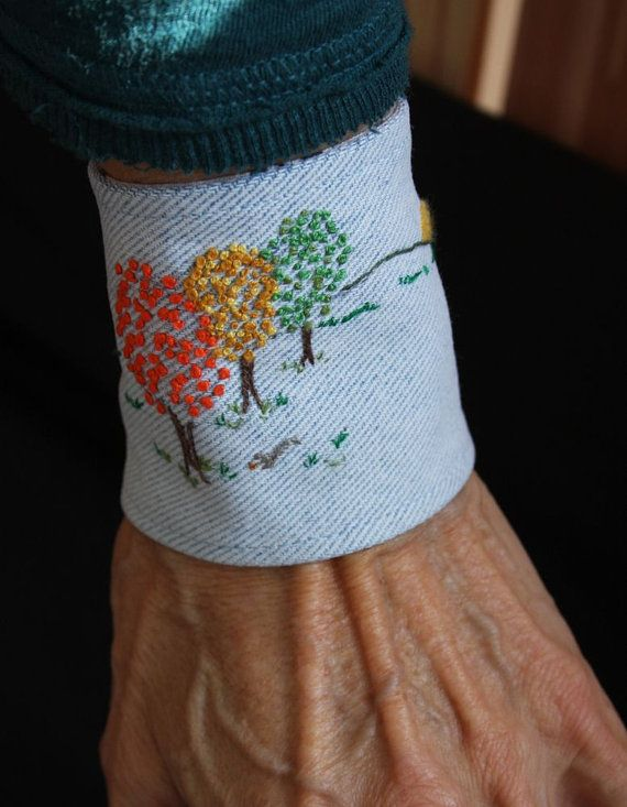 mamothreads environments embroidered denim cuff  autumn trees