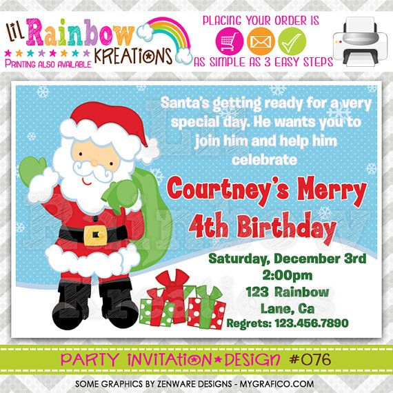 076 DIY Christmas Santa Party Invitation by LilRainbowKreations