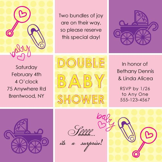 Double Baby Shower Invitations by Stinkleberrie on Etsy, $5000 - invitation wording for baby shower