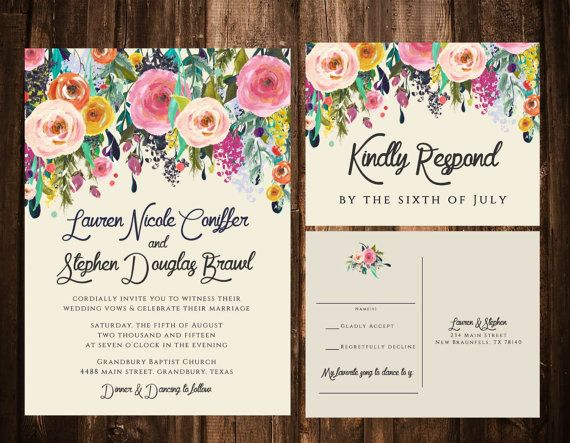bold bohemian floral wedding invitations; printable or set of 25, Wedding invitations