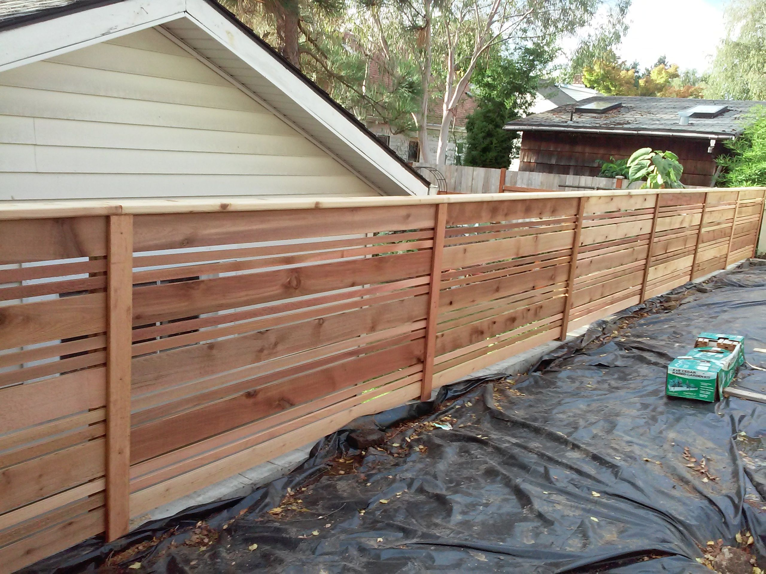 Horizontal Wood Fence Design In Portland Oregon This