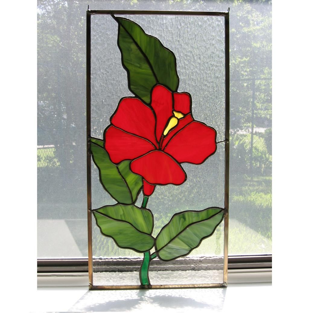 Hibiscus Flower Stained Glass Pattern Gardening Flower And Vegetables
