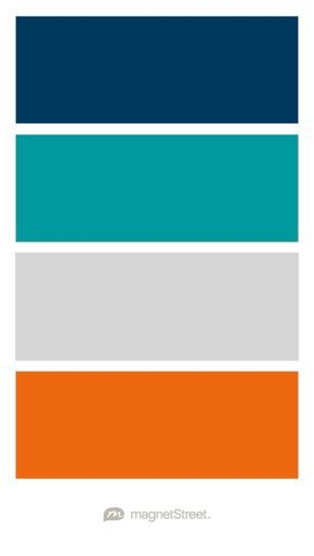 Navy Teal Silver And Orange Wedding Color Palette Custom Created At Magnetstreet