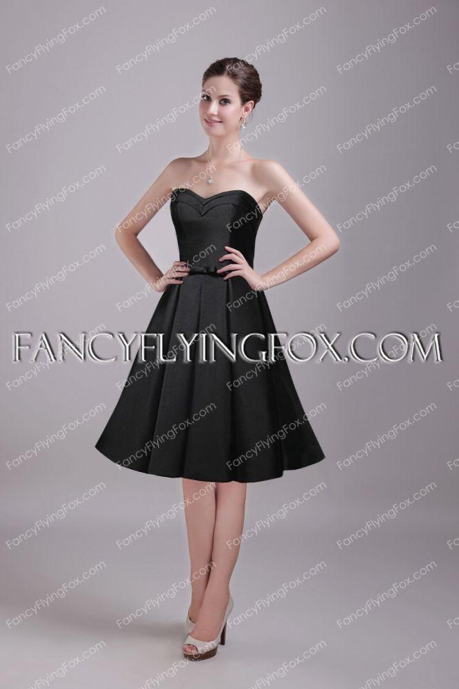 4e6cd97475d fancyflyingfox.com Offers High Quality Knee Length Black Satin Short Prom  Dress