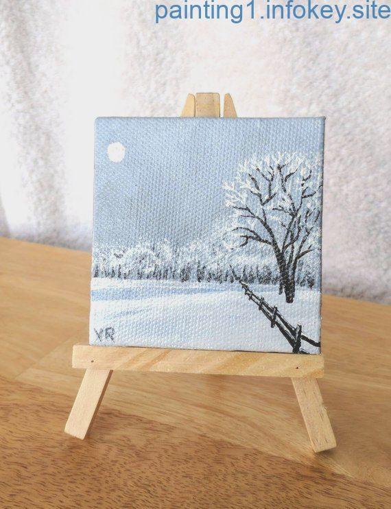 winter mini canvas paintings