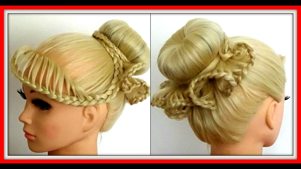 FRILLY LACE BRAID BUN HAIRSTYLE  HairGlamour Styles  YouTube