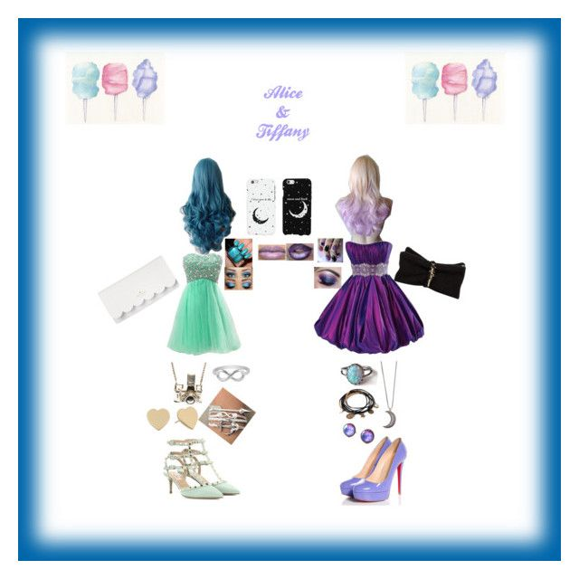 """""""Alice and tiffanys Girls nightout outfits"""" by geekygamergirl38 ❤ liked on Polyvore featuring Cotton Candy, Maggie Sottero, Christian Louboutin, Valentino, Kate Spade, Dsquared2, Gypsy Warrior, Kiel Mead Studio, Jewel Exclusive and Forever 21"""