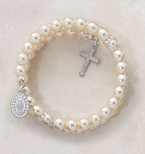 Rosary Wrap Around 5 Decade Faux Pearl Bracelet. Beautiful Catholic wrap bracelet for women or teens. Size: 6MM Bead