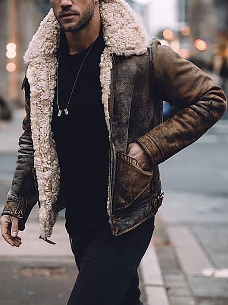 Vintage Fashion Lamb Cashmere Patent Leather Jacket Gomamia Jackets Men Fashion Leather Jacket Men Vintage Leather Jacket