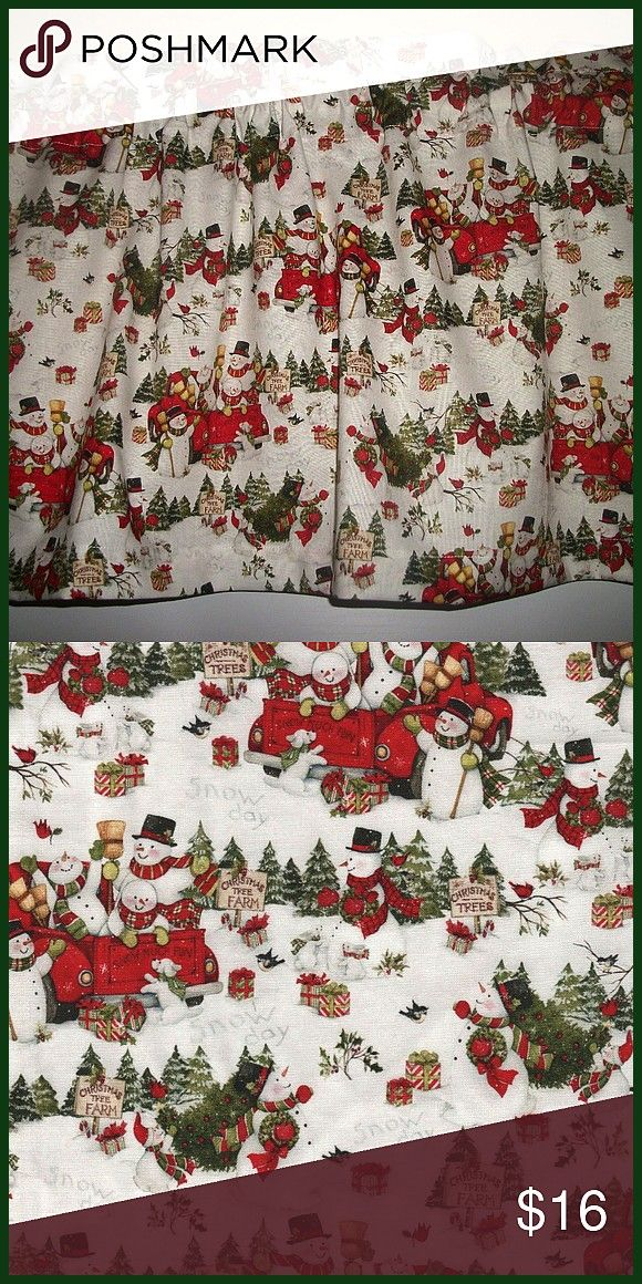 Red Truck Snowman Valance If you need more than one please message me Custom orders welcome This listing is for one made by me valance p Christmas Red Truck Snowman Valan...
