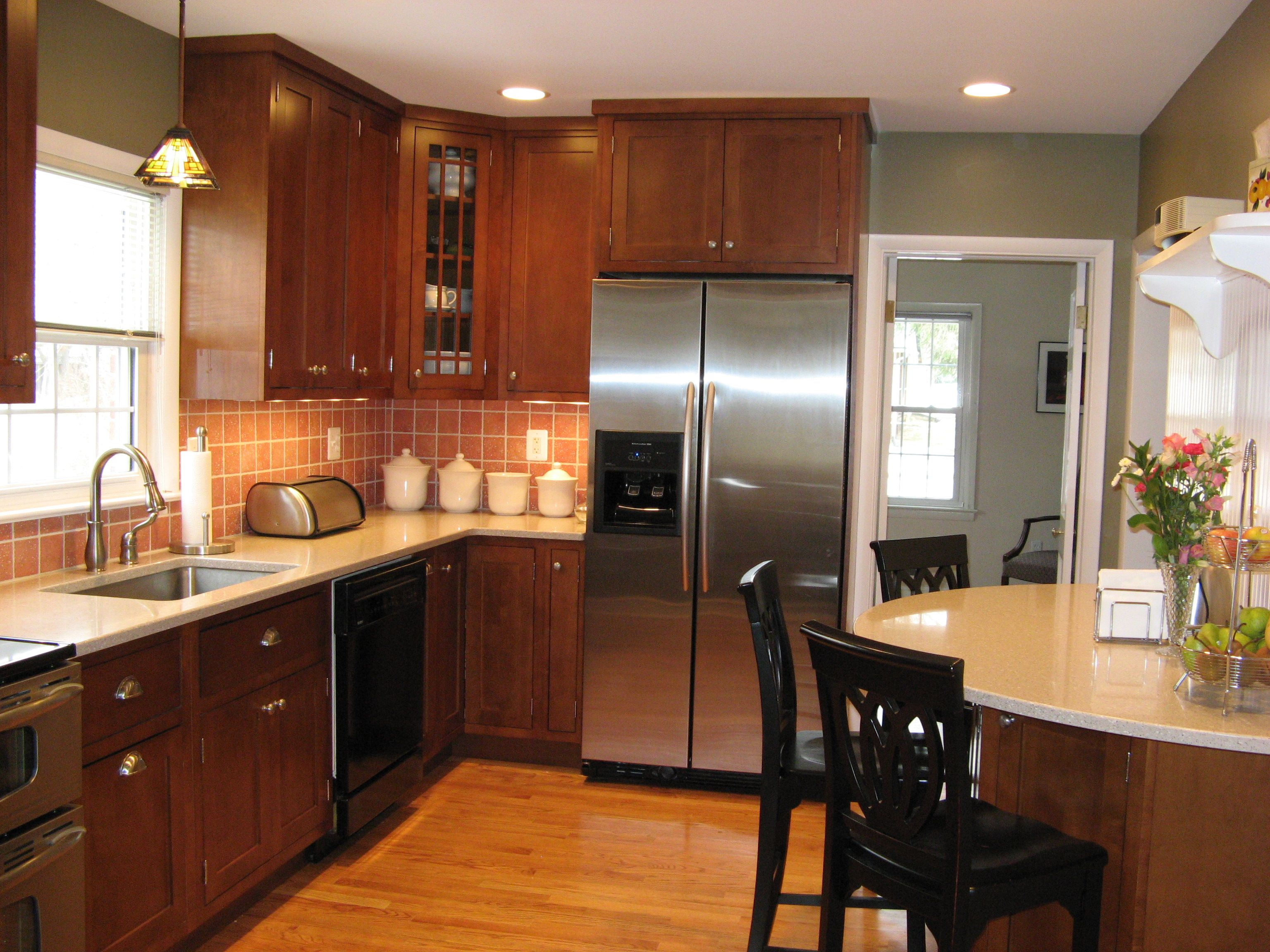 Washington Grove Md Kitchen Renovation Including 42 Shaker Style Cherry Cabinets Quartz Counter