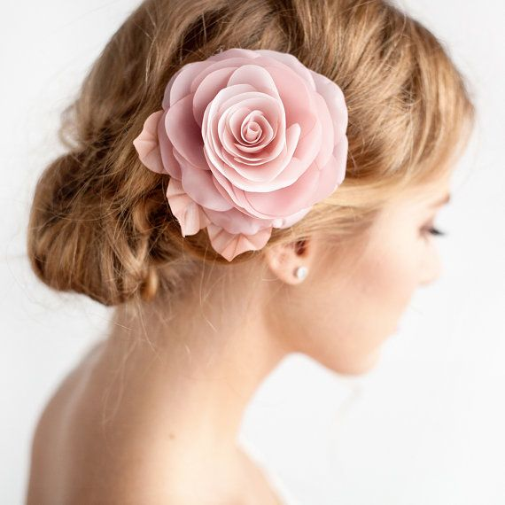 Bridal Hairstyle With Rose : Blush pink flower hair clip bridal rose