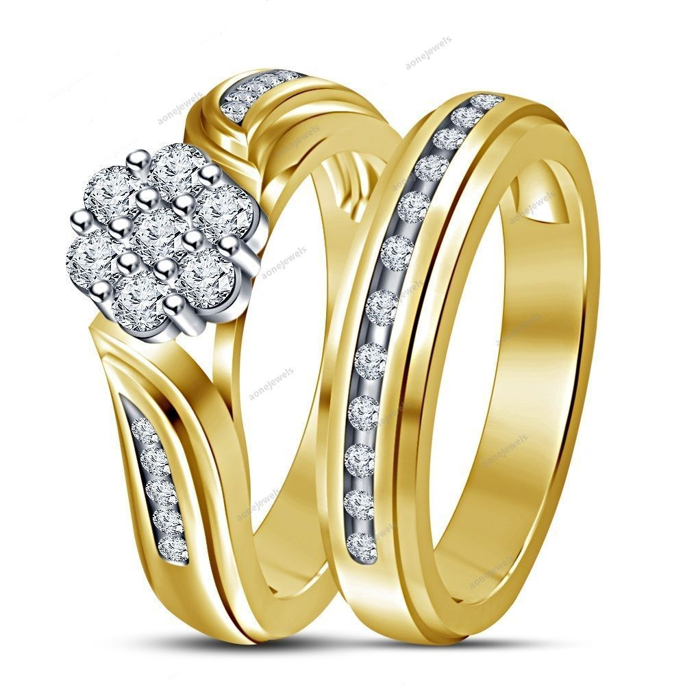 1.30 CT 14K Yellow Gold Plated Silver Round Cut Diamond Women's Bridal Ring Set…