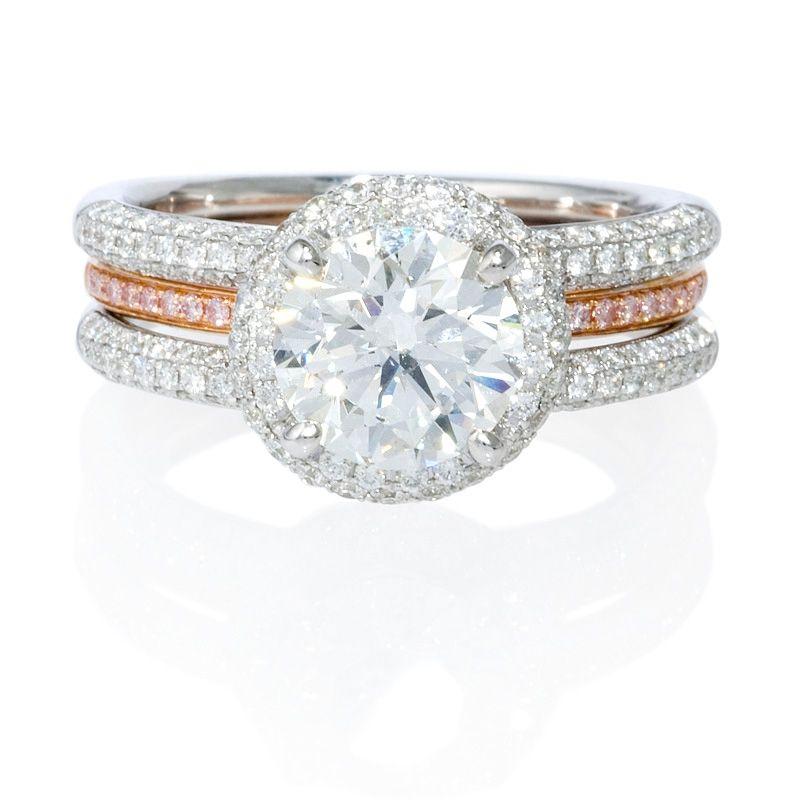 83ct Simon G Diamond 18k Two Tone Gold Halo Engagement Ring Setting