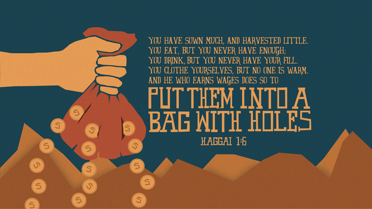 Verse of the Day from Logos.com    학개 1:6, 너희가 많이 뿌릴지라도 수확이 적으며, 먹을지라도 배부르지 못하며, 마실지라도 흡족하지 못하며, 입어도 따뜻하지 못하며, 일꾼이 삯을 받아도 그것을 구멍 뚫어진 전대에 넣음이 되느니라.