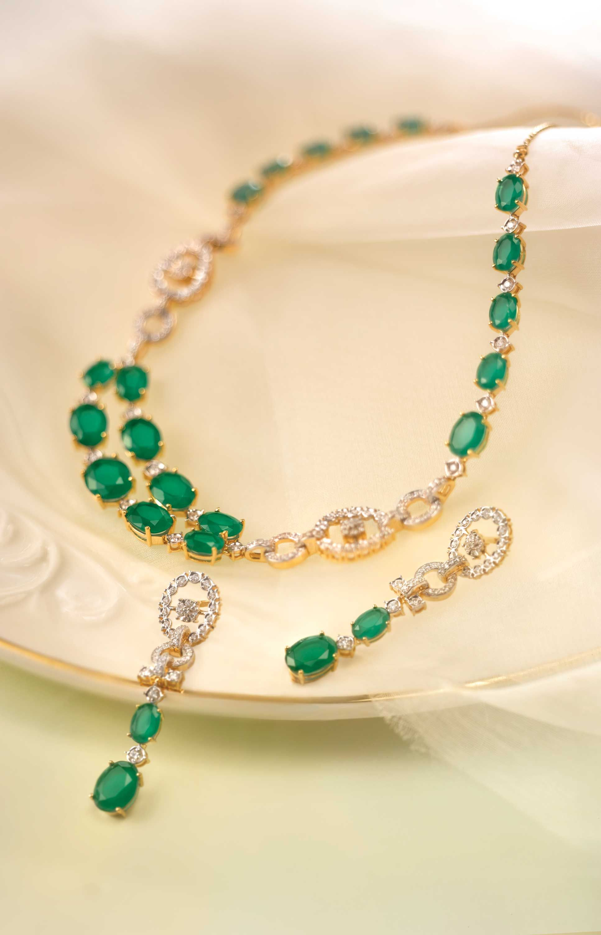 Gold Diamond Emerald Set Necklace Earrings Bridal Jewelry